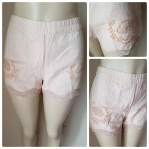 Free People Light Pink Linen Blend Lace Trim Short